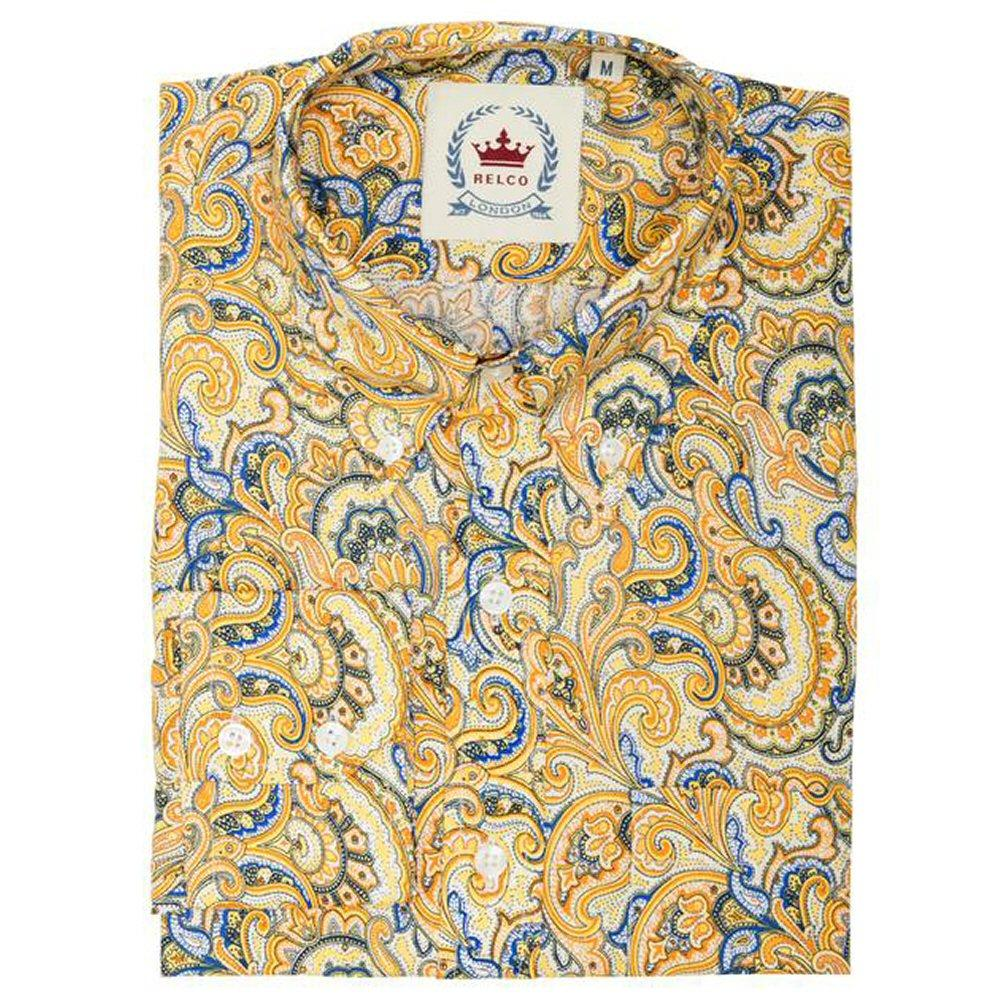 Relco Mens Retro Paisley Long Sleeve Shirt Mustard