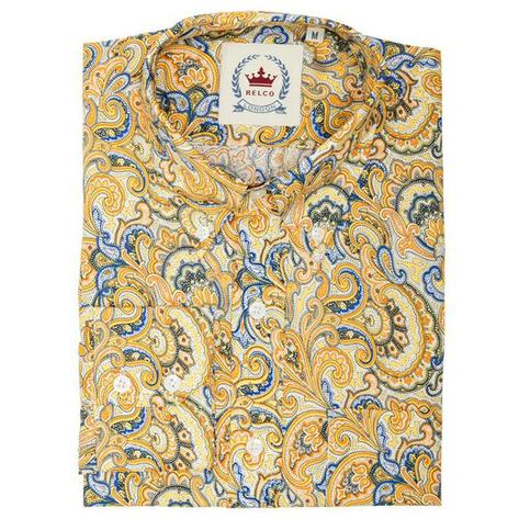Relco Mens Retro Paisley Long Sleeve Shirt Mustard Thumbnail 1
