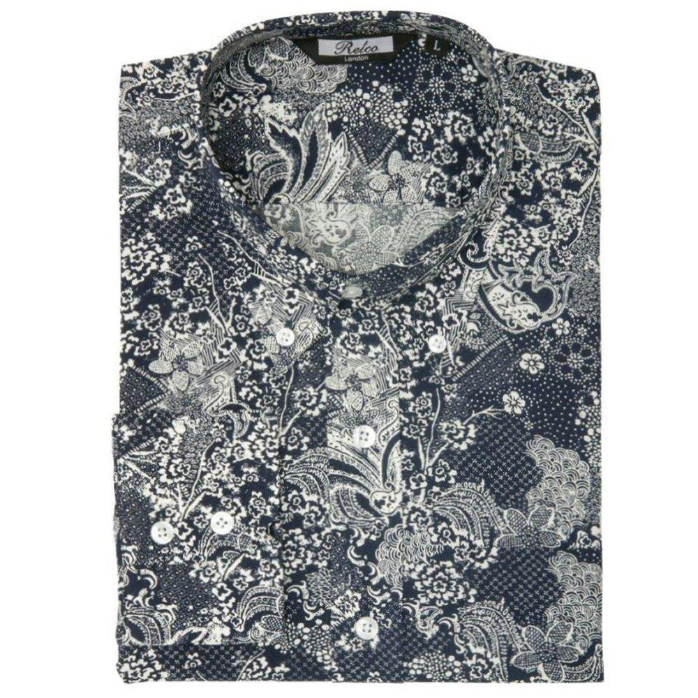 Relco Mens Retro Paisley Long Sleeve Shirt Navy / White