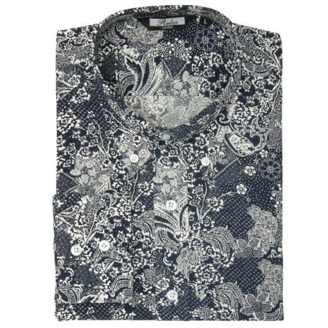Relco Mens Retro Paisley Long Sleeve Shirt Navy / White Thumbnail 1