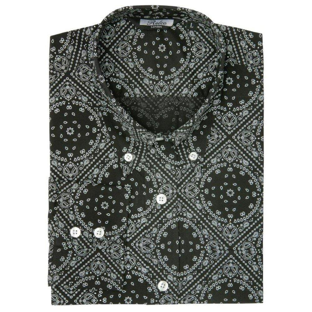 Relco Mens Mod Retro Paisley Long Sleeve Shirt Black