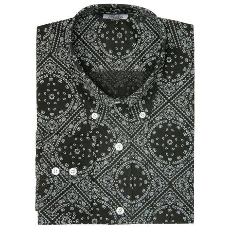 Relco Mens Mod Retro Paisley Long Sleeve Shirt Black Thumbnail 1