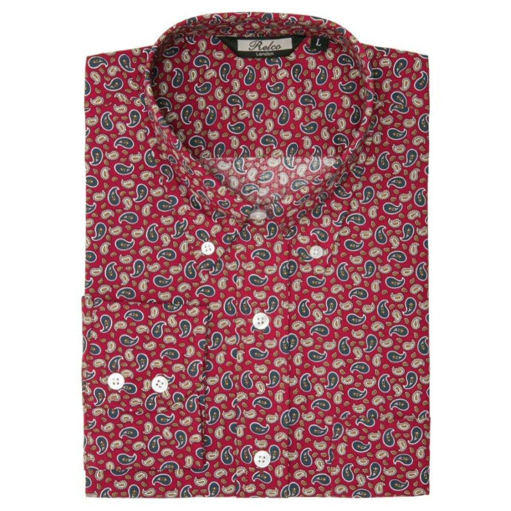 Relco Mens Retro Paisley Long Sleeve Shirt Burgundy