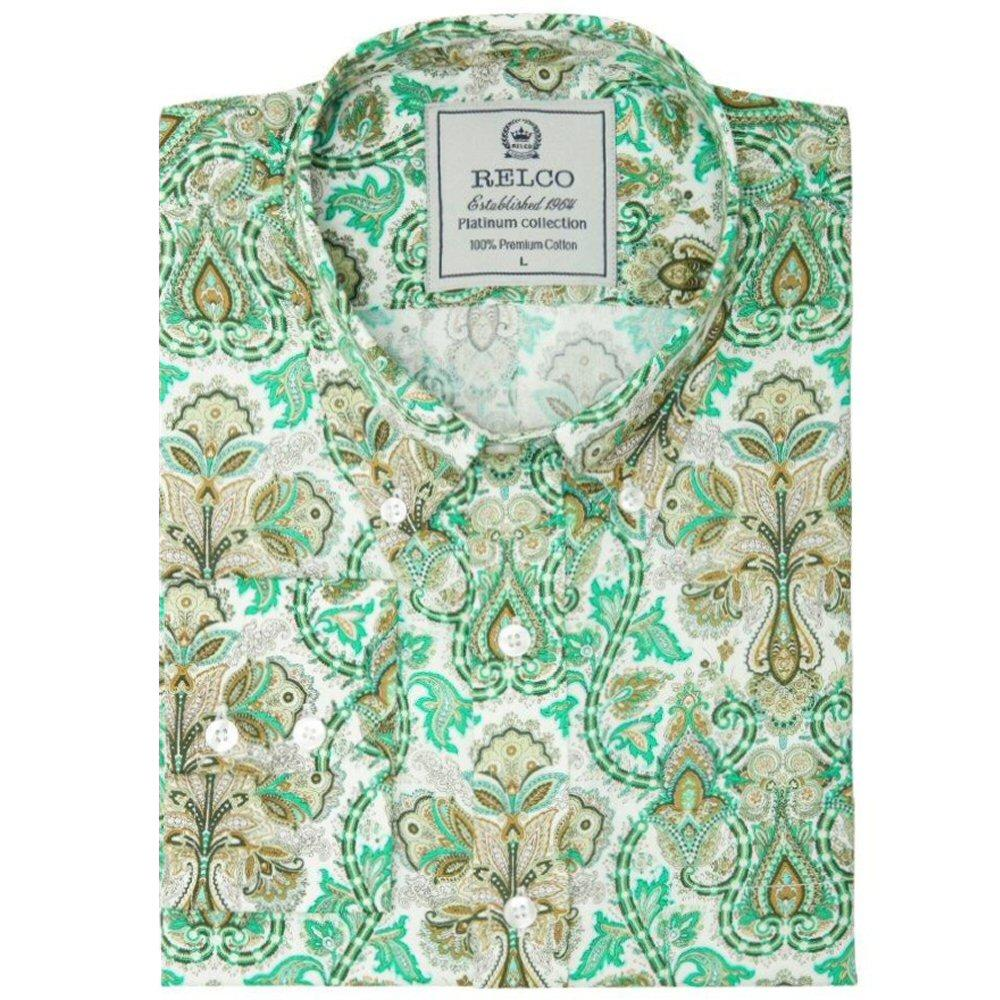 Relco Mens Retro Geometric Print Pattern Shirt Green