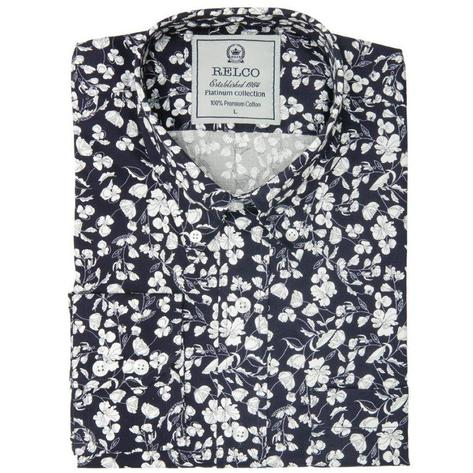 Relco Mens Mod Retro Floral Print Pattern Shirt Navy