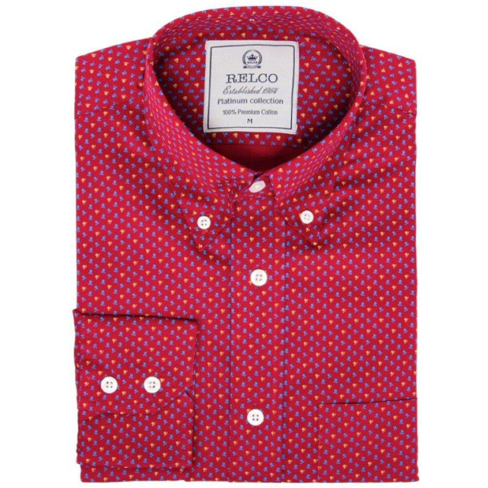 Relco Mens Retro Mini Geometric Print Shirt Magenta