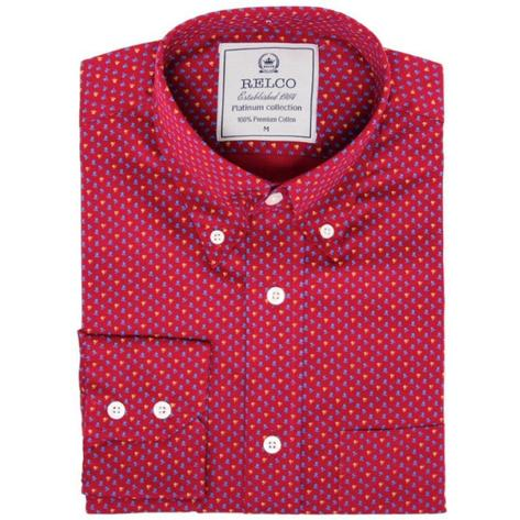 Relco Mens Retro Mini Geometric Print Shirt Magenta Thumbnail 1