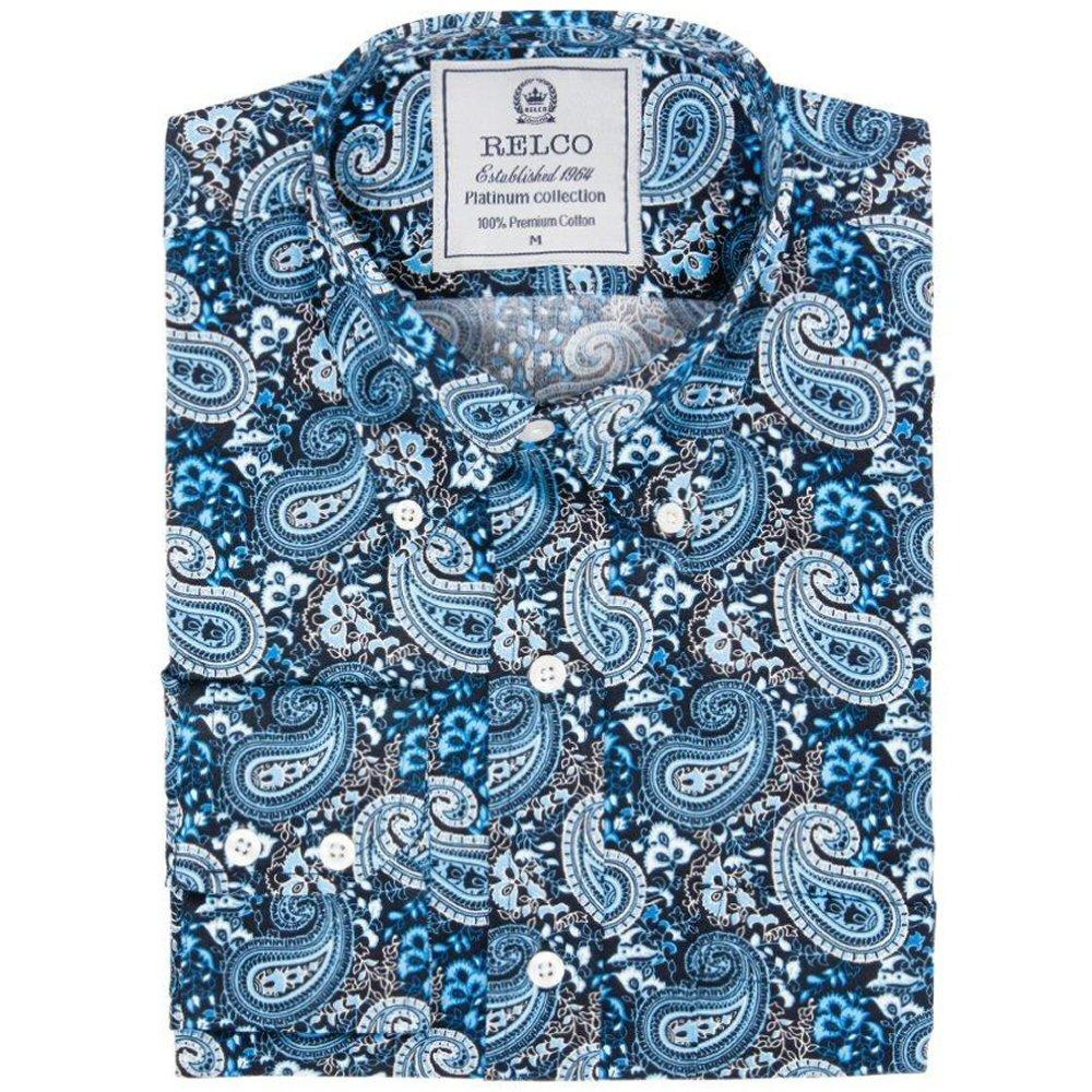 Relco Mens Mod Retro Loud Paisley Print Shirt Blue