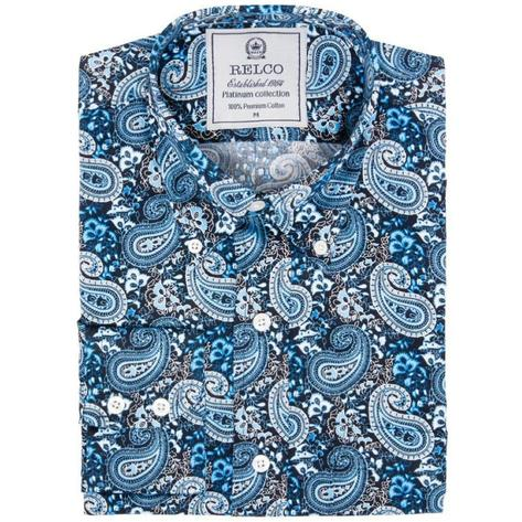 Relco Mens Mod Retro Loud Paisley Print Shirt Blue Thumbnail 1