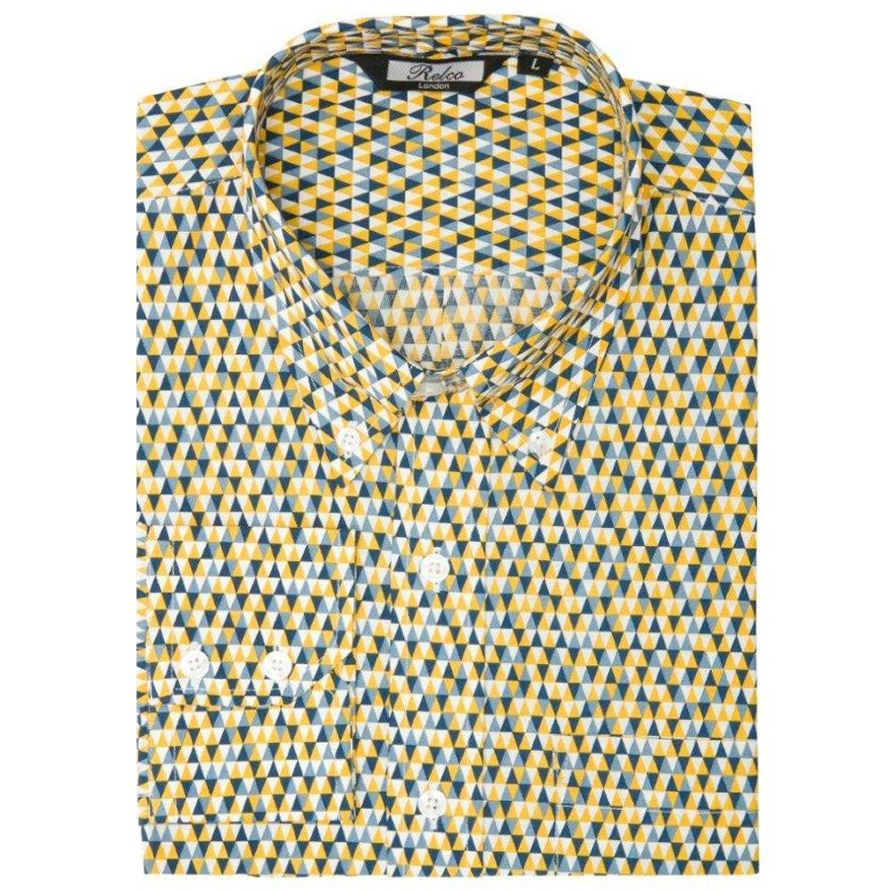 Relco Mens Mod Retro Mini Triangle Print Shirt Yellow