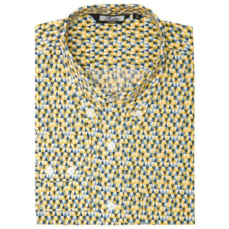 Relco Mens Mod Retro Mini Triangle Print Shirt Yellow Thumbnail 1
