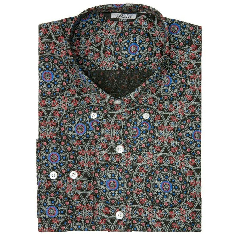 Relco Mens Retro Circle Geometric Print Shirt Black