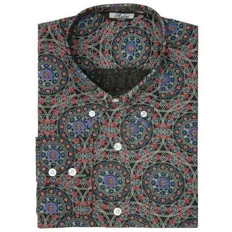 Relco Mens Retro Circle Geometric Print Shirt Black Thumbnail 1