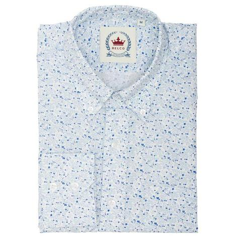 Relco Mens Retro Leaf Floral Print Pattern Shirt White