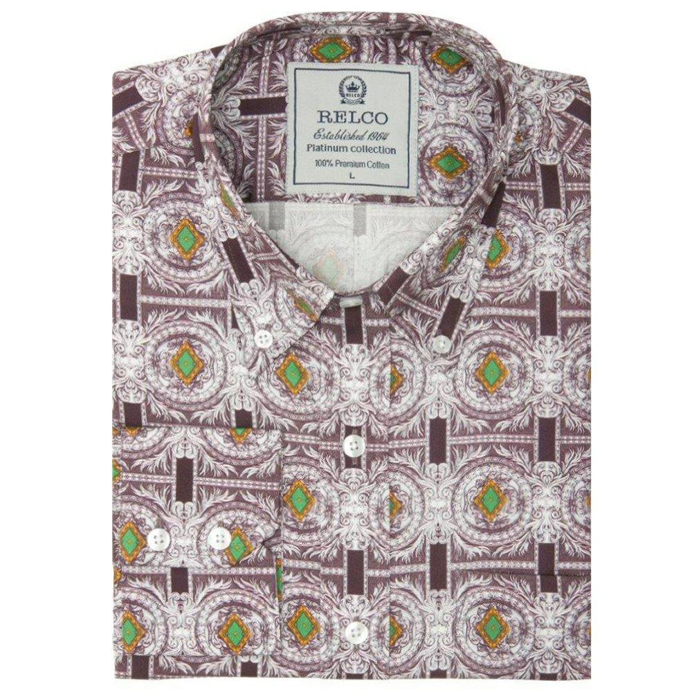 Relco Mens Retro Loud Geometric Print Shirt Grey