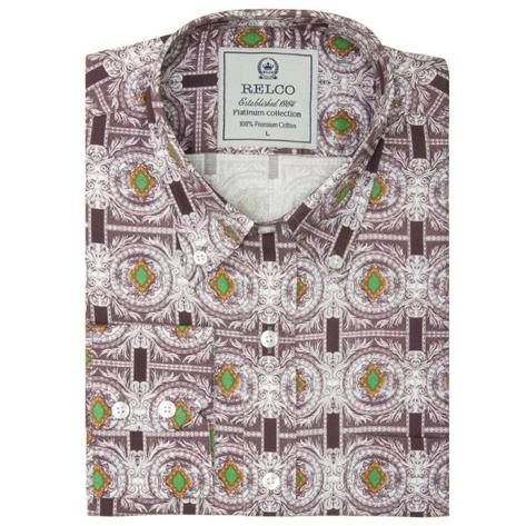 Relco Mens Retro Loud Geometric Print Shirt Grey Thumbnail 1