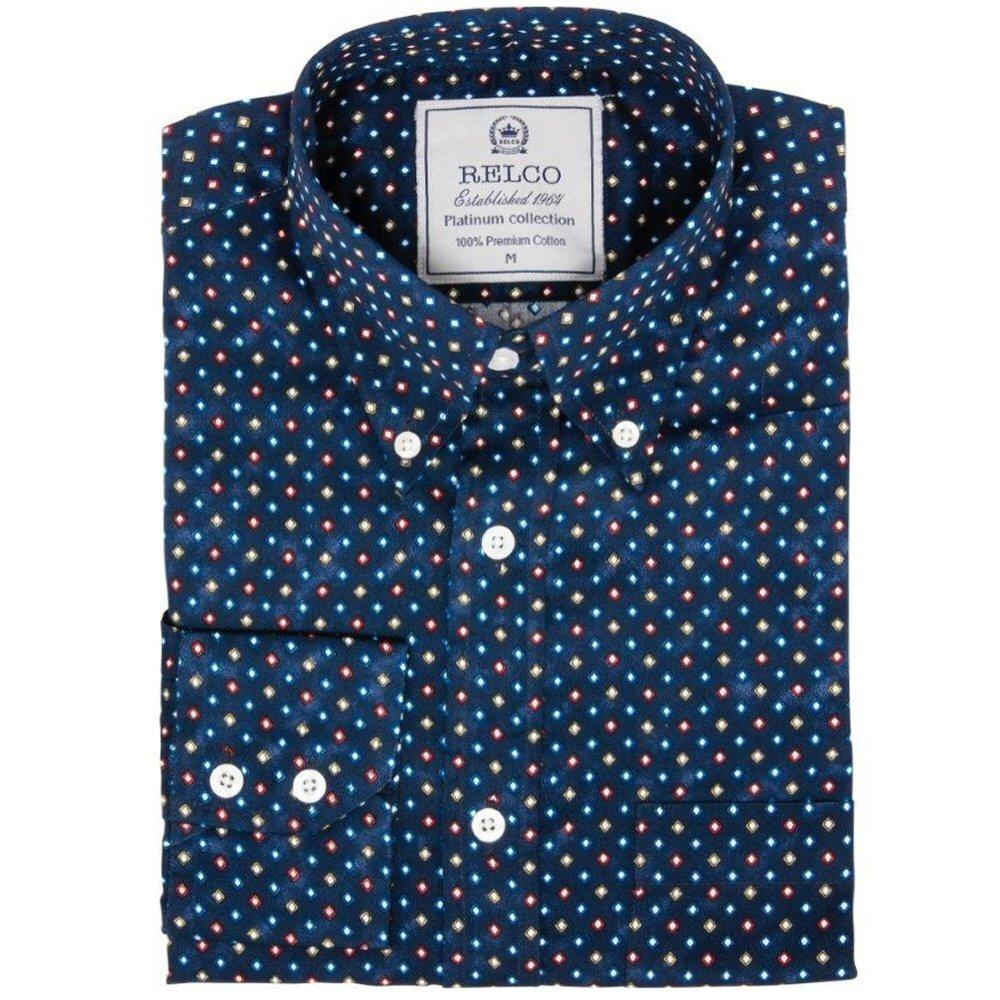Relco Mens Mod Retro Mini Diamond Print Shirt Navy