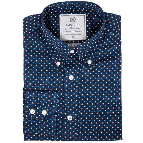 Relco Mens Mod Retro Mini Diamond Print Shirt Navy Thumbnail 1