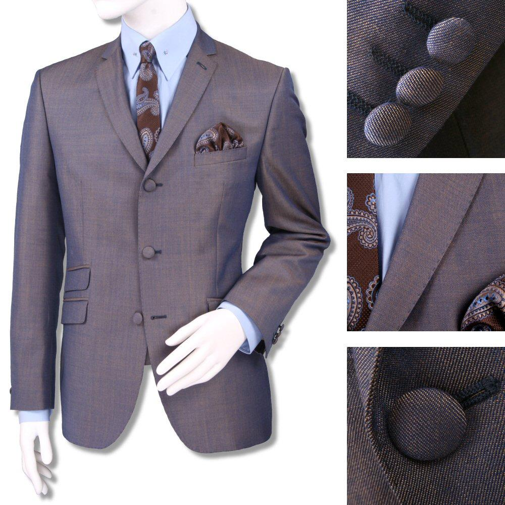 Adaptor Clothing Mod 60's Retro Tonic 3 Button Slim Mohair Suit Blue/Gold