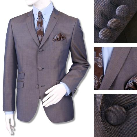 Adaptor Clothing Mod 60's Retro Tonic 3 Button Slim Mohair Suit Blue/Gold Thumbnail 1