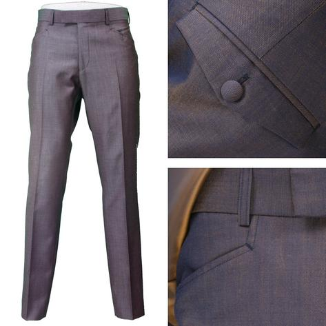 Adaptor Clothing Mod 60's Retro Tonic 3 Button Slim Mohair Suit Blue/Gold Thumbnail 2