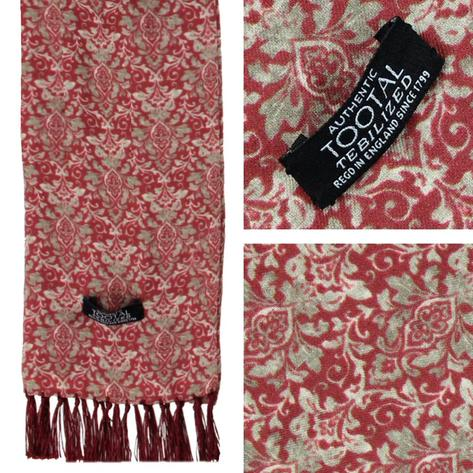 Authentic Tootal Mod 60's Damask Print Fringed Rayon Scarf Brick Thumbnail 1