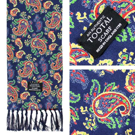 Authentic Tootal Mod 60's Classic Paisley Fringed Silk Scarf Navy Thumbnail 1