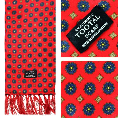 Authentic Tootal Mod 60's Geometric Print Fringed Silk Scarf Red Thumbnail 1
