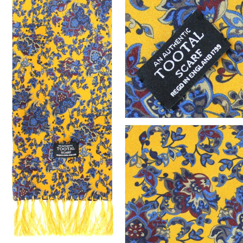 Authentic Tootal Mod 60's Floral Print Fringed Silk Scarf Mustard