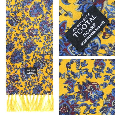 Authentic Tootal Mod 60's Floral Print Fringed Silk Scarf Mustard Thumbnail 1