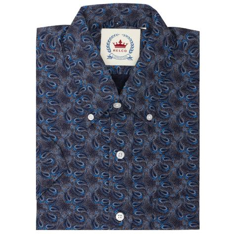 Relco Mens Mod Retro Paisley Short Sleeve Shirt Navy