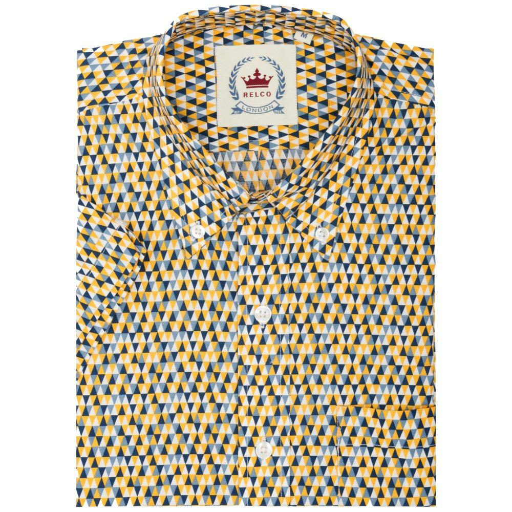 Relco Mens Mod Triangle Print Short Sleeve Shirt Yellow