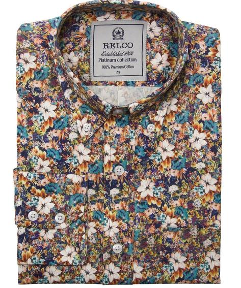 Relco Platinum Mens Floral Print Long Sleeve Shirt