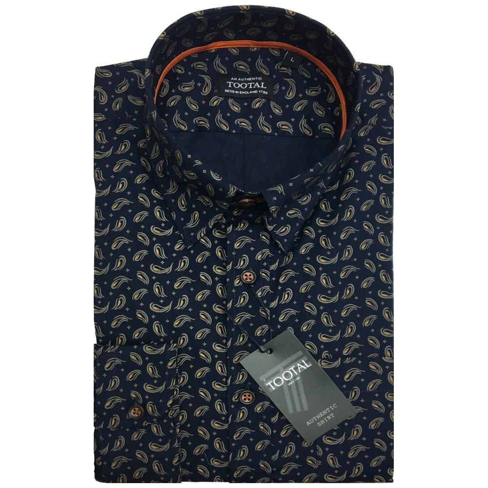 Tootal Vintage Authentic Long Sleeve Paisley Shirt Navy