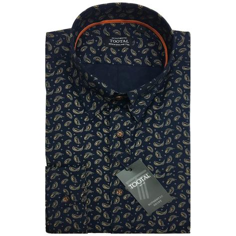 Tootal Vintage Authentic Long Sleeve Paisley Shirt Navy Thumbnail 1