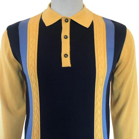 Ska & Soul Contrast Cable Knit Stripe Long Sleeve Polo Mustard Thumbnail 1