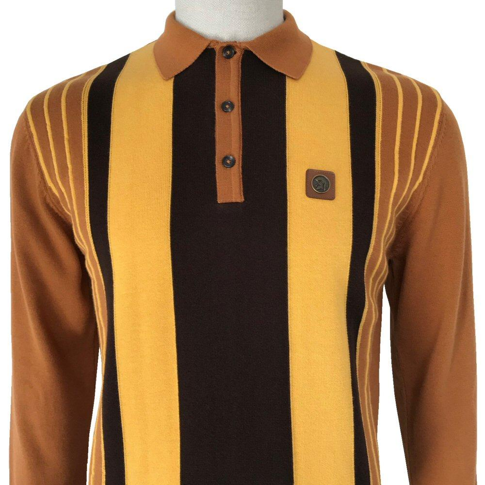 Trojan Records Contrast Stripe Long Sleeve Knit Polo Tan