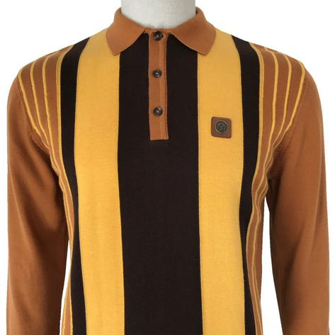 Trojan Records Contrast Stripe Long Sleeve Knit Polo Tan Thumbnail 1