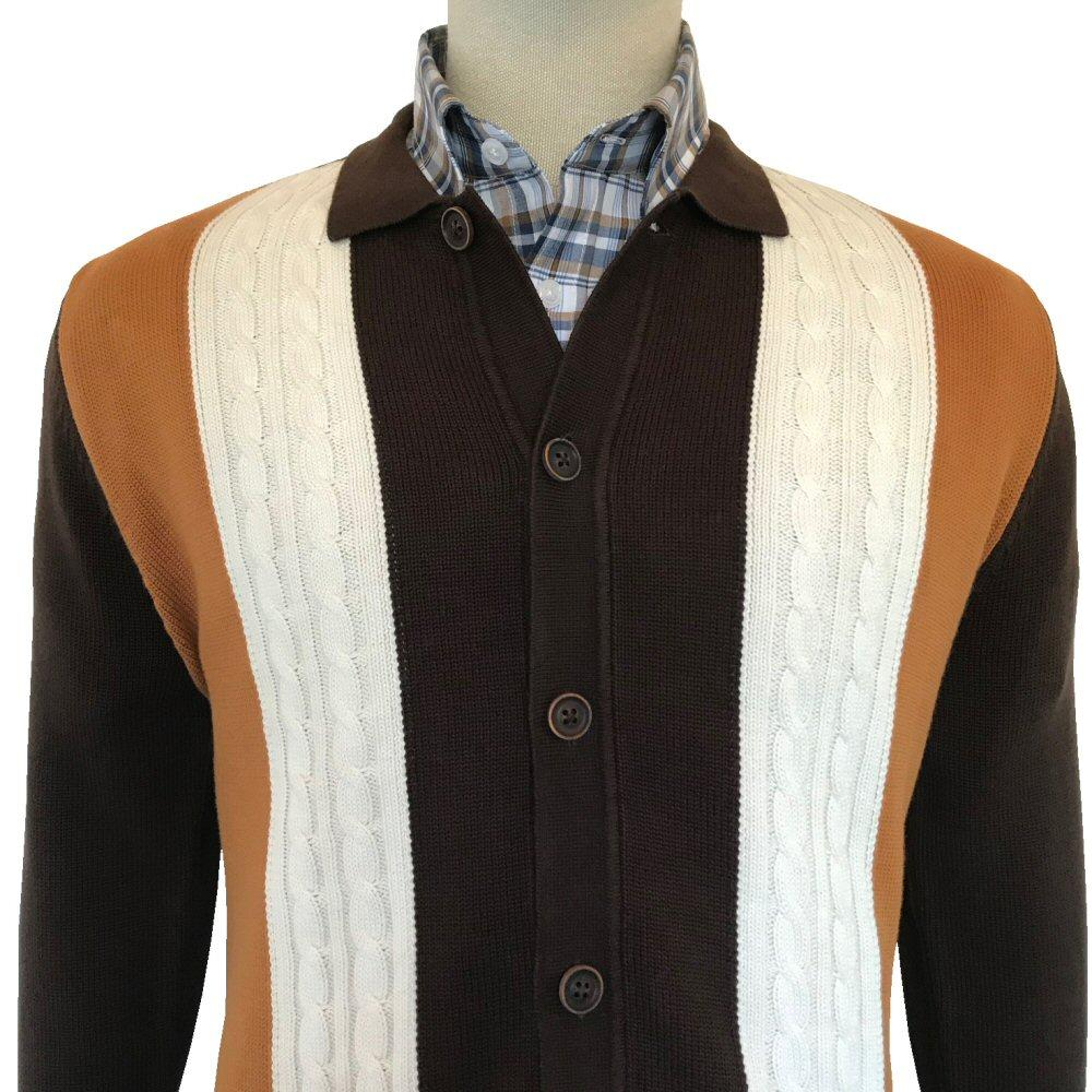 Trojan Records Cable Knit Long Sleeve Polo Cardigan Brown