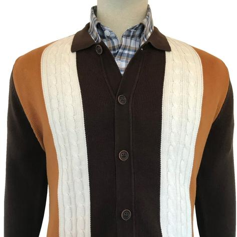 Trojan Records Cable Knit Long Sleeve Polo Cardigan Brown Thumbnail 1