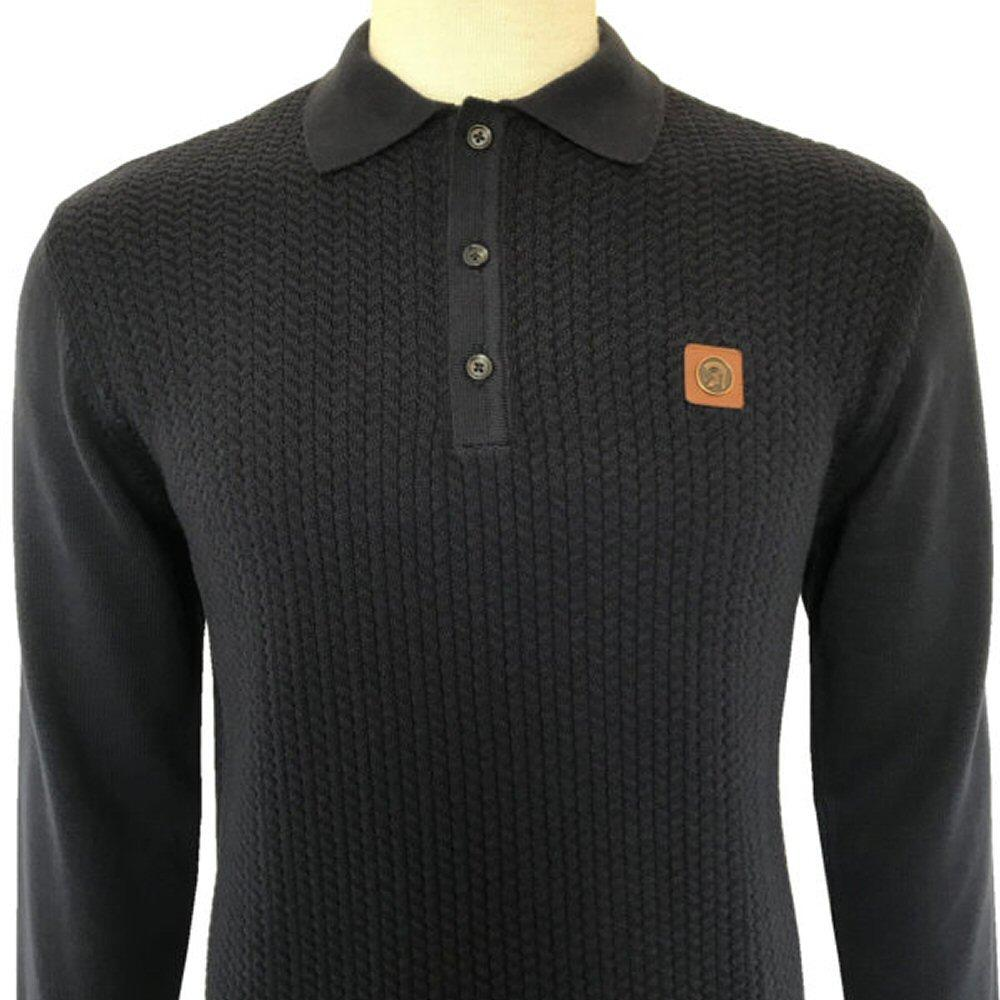 Trojan Records Chevron Knit Long Sleeve Polo Top Navy
