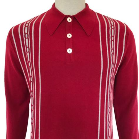 Trojan Records Spearpoint Collar Long Sleeve Knit Polo Red Thumbnail 1