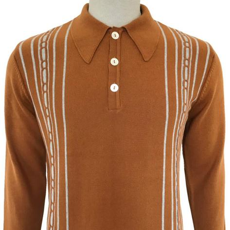 Trojan Records Spearpoint Collar Long Sleeve Knit Polo Tan Thumbnail 1