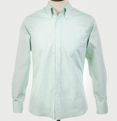 Art Gallery Mens Long Sleeve Cotton Oxford Shirt Mint Thumbnail 2