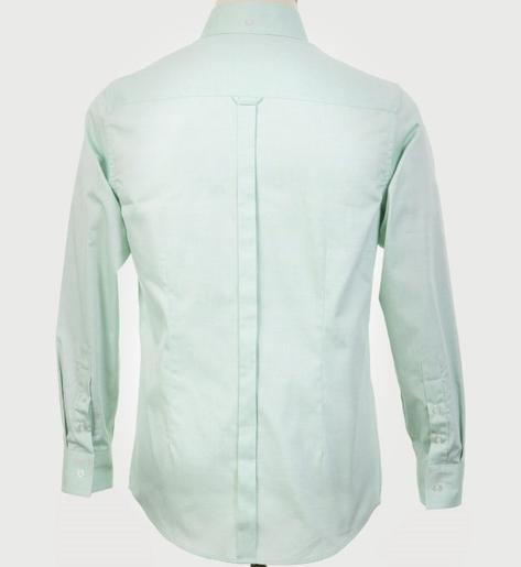 Art Gallery Mens Long Sleeve Cotton Oxford Shirt Mint Thumbnail 3