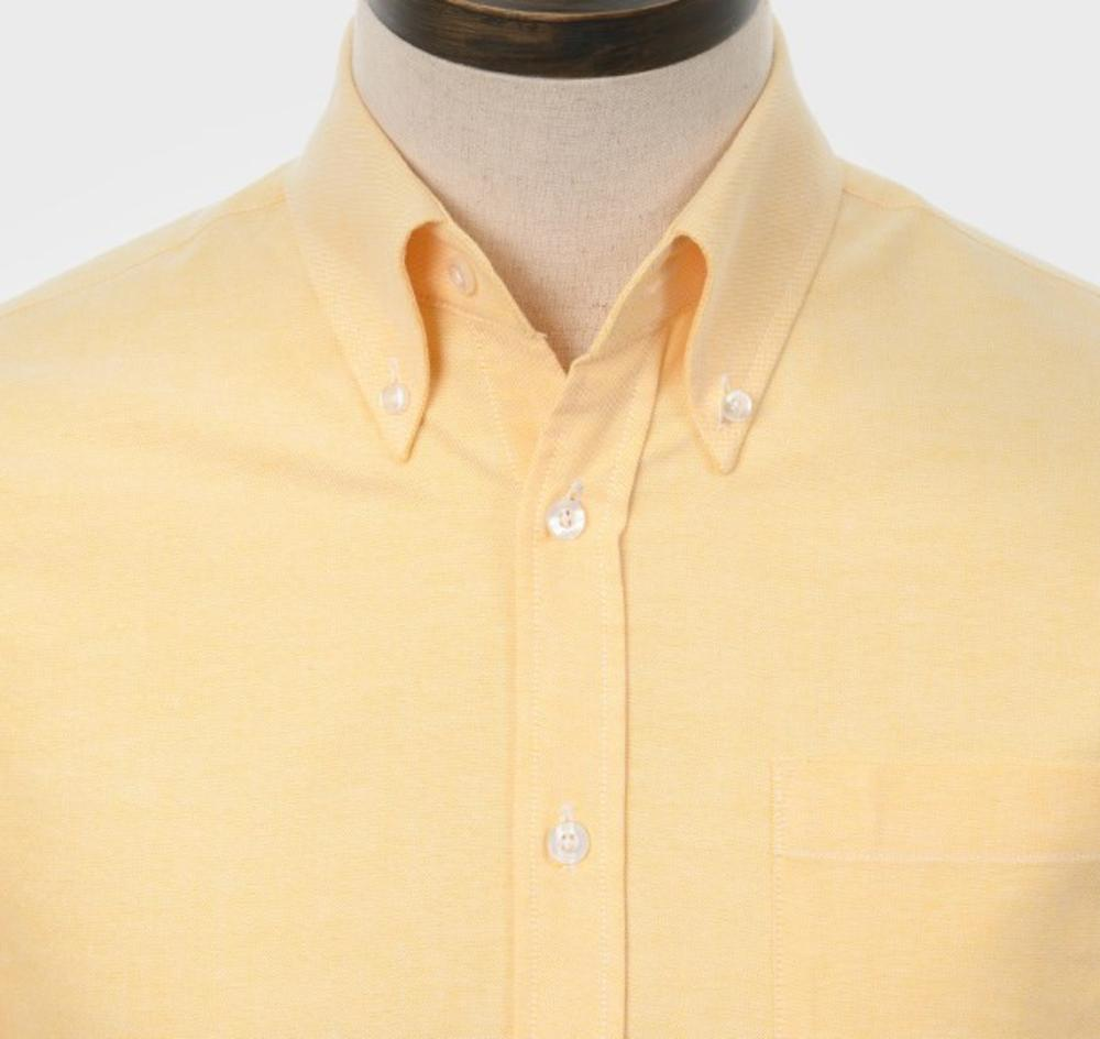 Art Gallery Mens Long Sleeve Cotton Oxford Shirt Yellow