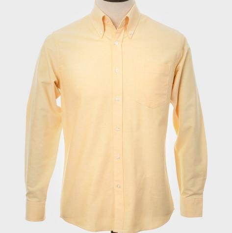 Art Gallery Mens Long Sleeve Cotton Oxford Shirt Yellow Thumbnail 3