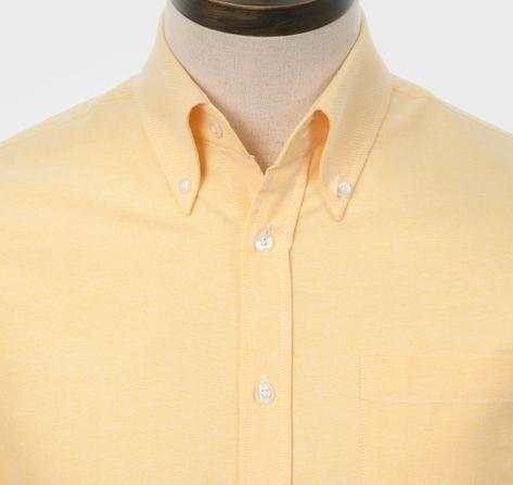 Art Gallery Mens Long Sleeve Cotton Oxford Shirt Yellow Thumbnail 1