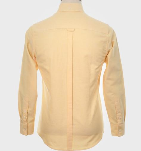 Art Gallery Mens Long Sleeve Cotton Oxford Shirt Yellow Thumbnail 4