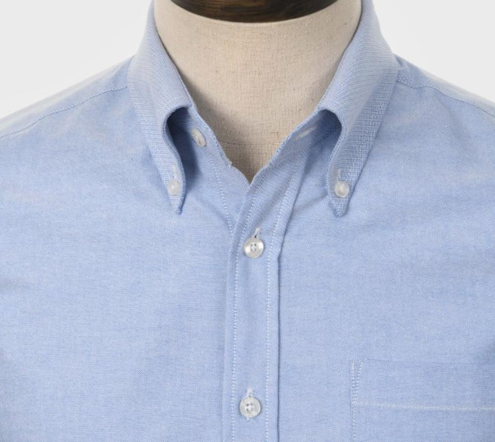 Art Gallery Mens Long Sleeve Cotton Oxford Shirt Sky Blue
